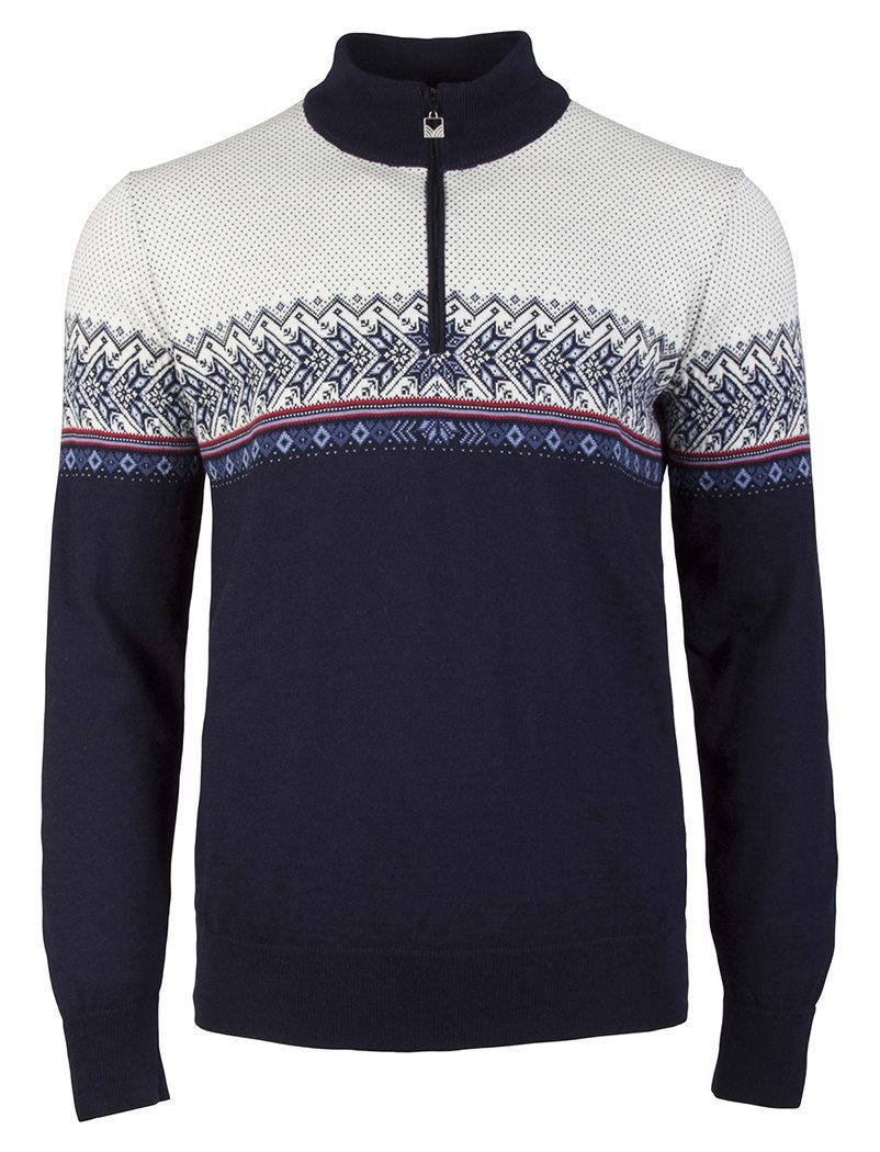Hovden Masculine Sweater - Navy / Blue-Shadow / Indigo / Raspberry / Off-White