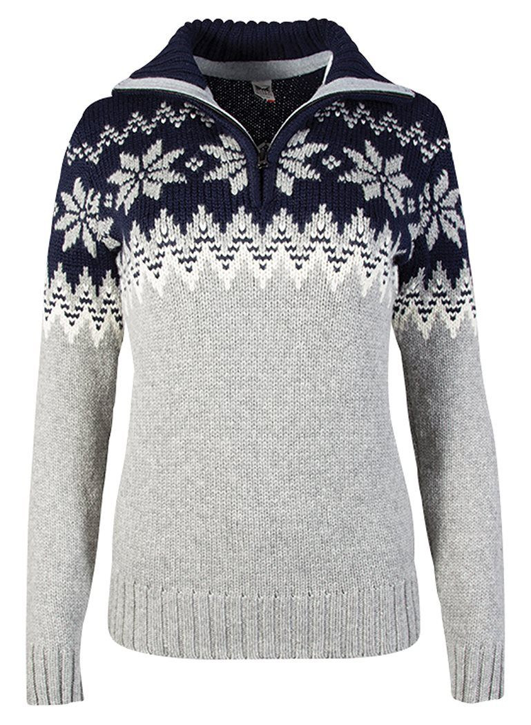 Myking Feminine Sweater - Light-Charcoal / Off-White / Navy