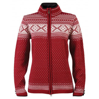 Valle Feminine Cardigan - Red Rose / Off White